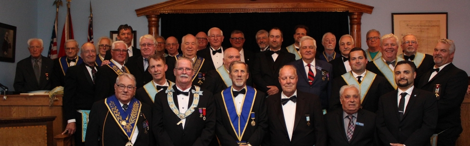 Installing team, visiting brethren and members of Palmer Lodge